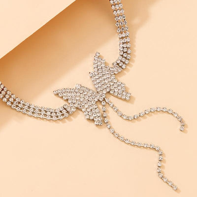 Full Diamond Butterfly Tassel Alloy Necklace Wholesale Cheap Jewelry