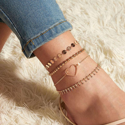 4-Piece Love Rhinestone Fashion Tassel Anklet Wholesale Cheap Jewelry