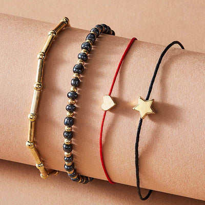 4-Piece Simple Rice Beads Five Pointed Star love Anklet Wholesale Cheap Jewelry