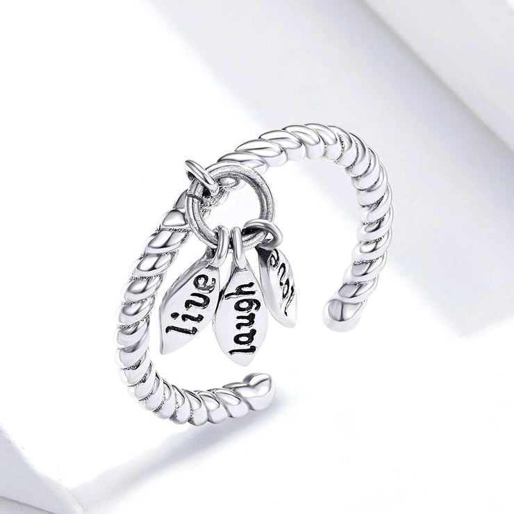 Sterling Silver Love Life Ring