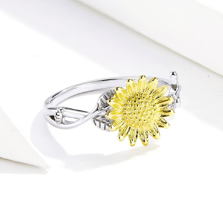 Plain Sterling Silver Golden Sunflower Ring