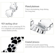 Plain Sterling Silver Black Cute Pet Paw Print Ring