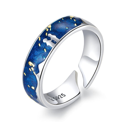 Plain Sterling Silver Stars Blue Starry Sky Ring