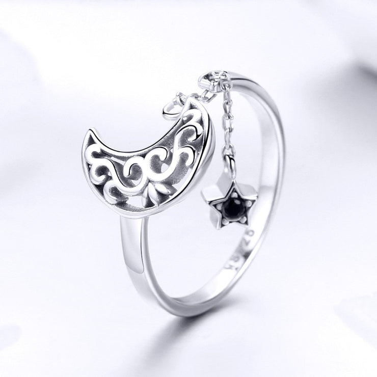 Sterling Silver Starlight Moon Sky Ring