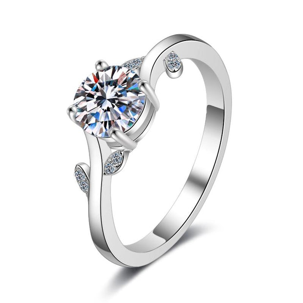 Sterling Silver Flower Cubic Zirconia Ring