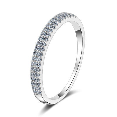 Sterling Silver Line Cubic Zirconia Ring
