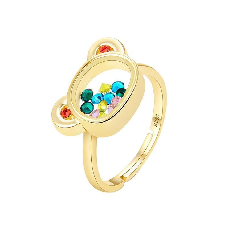 Sterling Silver Hollow Teddy Bear Colored Zircon Adjustable Ring