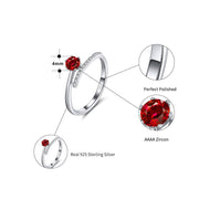 Sterling Silver Red Zirconia Adjustable Ring