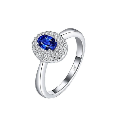 Sterling Silver Blue Cushion Zirconia Ring
