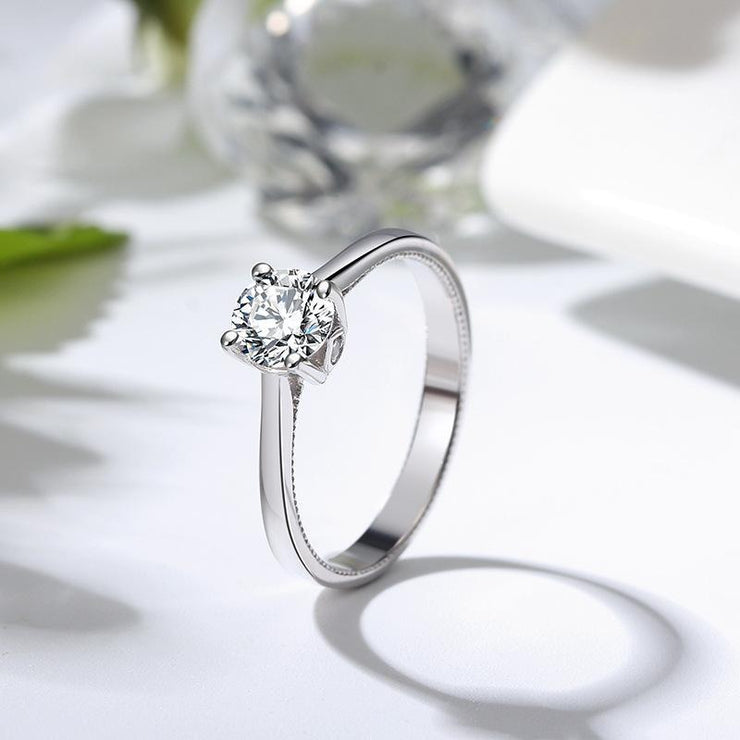 Sterling Silver Round Zirconia Ring