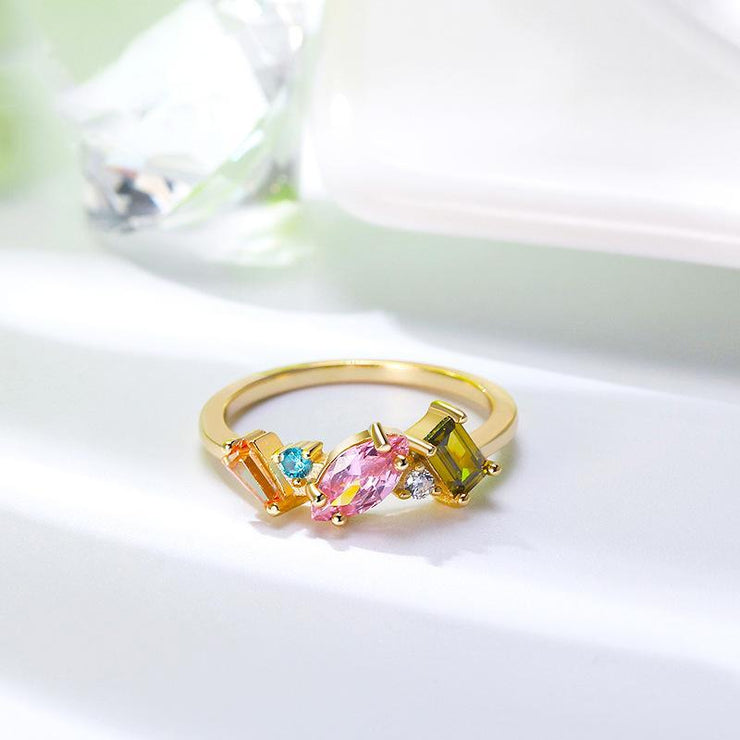 Sterling Silver Colorful Marpuise Zirconia Ring