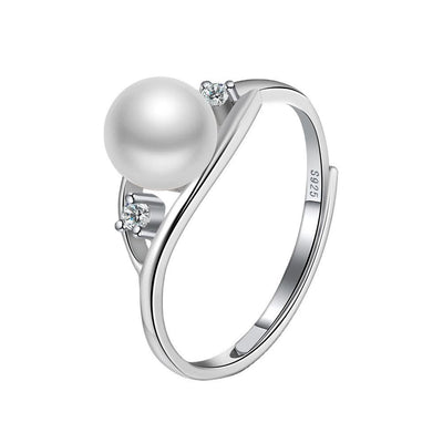 Sterling Silver Pearl Adjustable Ring