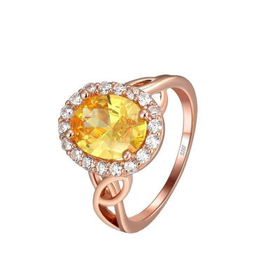 Sterling Silver Elegant Yellow Opal Oval CZ Ring