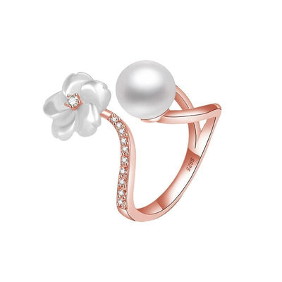 Sterling Silver Flower Pear Zirconia Adjustable Ring