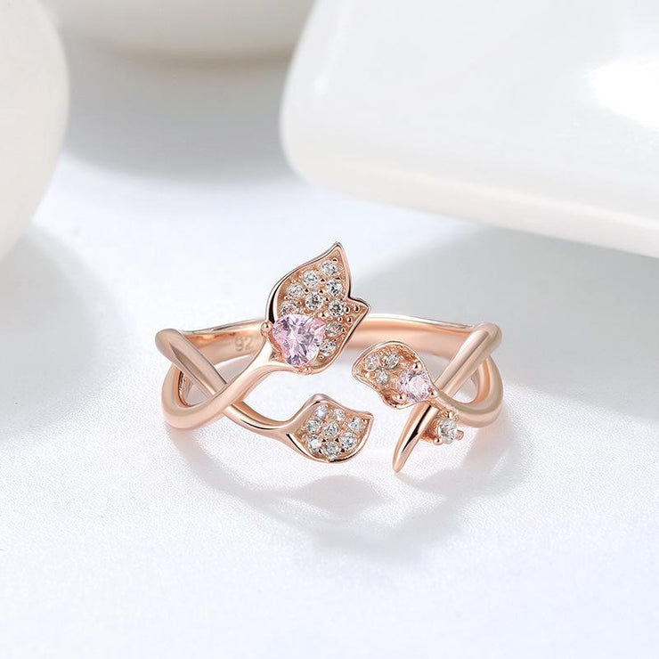 Women Fashion Jewelry 925 Sterling Silver Flowers Rings