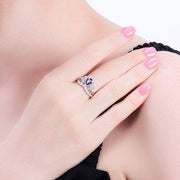 Women Fashion Jewelry 925 Sterling Silver Blue Crystal Crown Rings