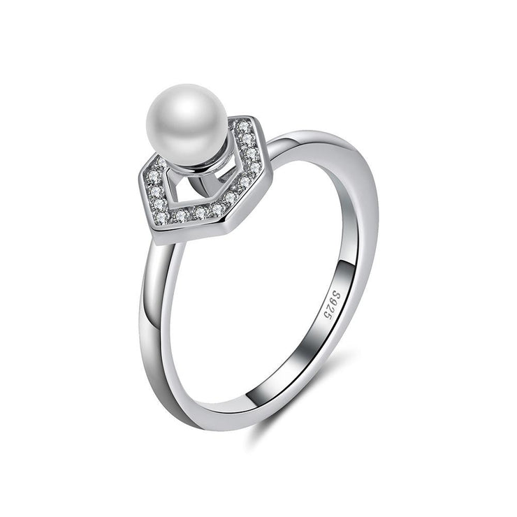 Women Fashion Jewelry 925 Sterling Silver Pearl CZ Rings