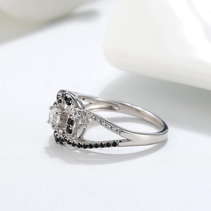 Women Fashion Jewelry 925 Sterling Silver Hollow CZ Rings