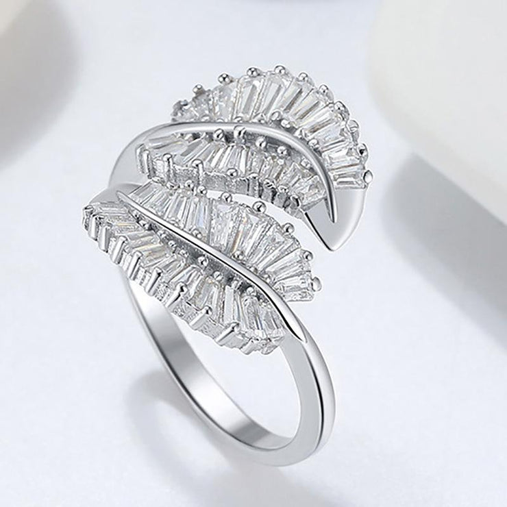 925 Sterling Silver Leaves CZ Toe Ring