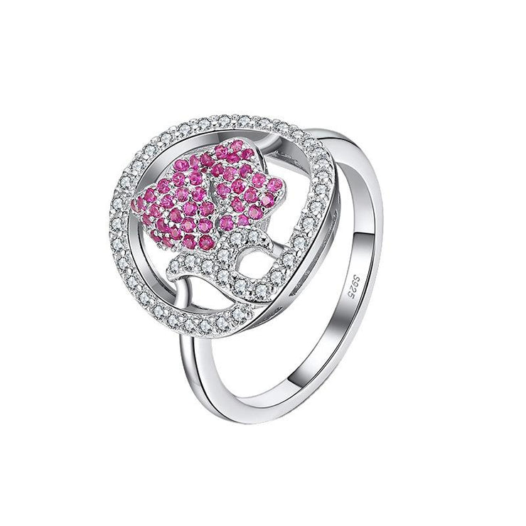 925 Sterling Silver Two Tone Rose CZ Ring