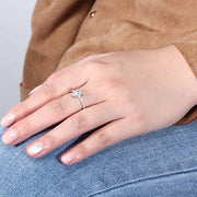 925 Sterling Silver Drop CZ Ring