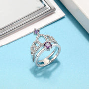 925 Sterling Silver Crown Purple CZ Ring
