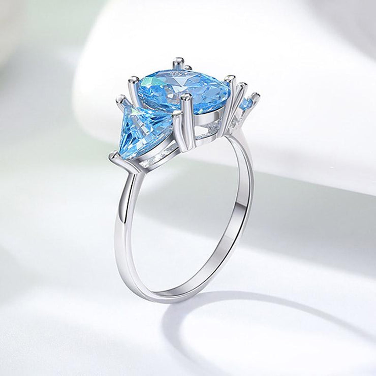 925 Sterling Silver Blue Cushion CZ Ring