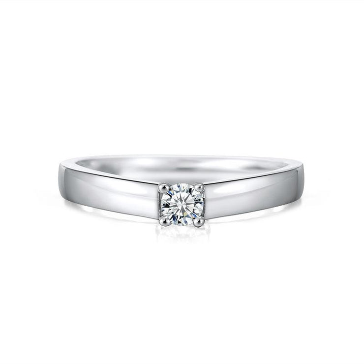 925 Sterling Silver Round CZ Set Ring