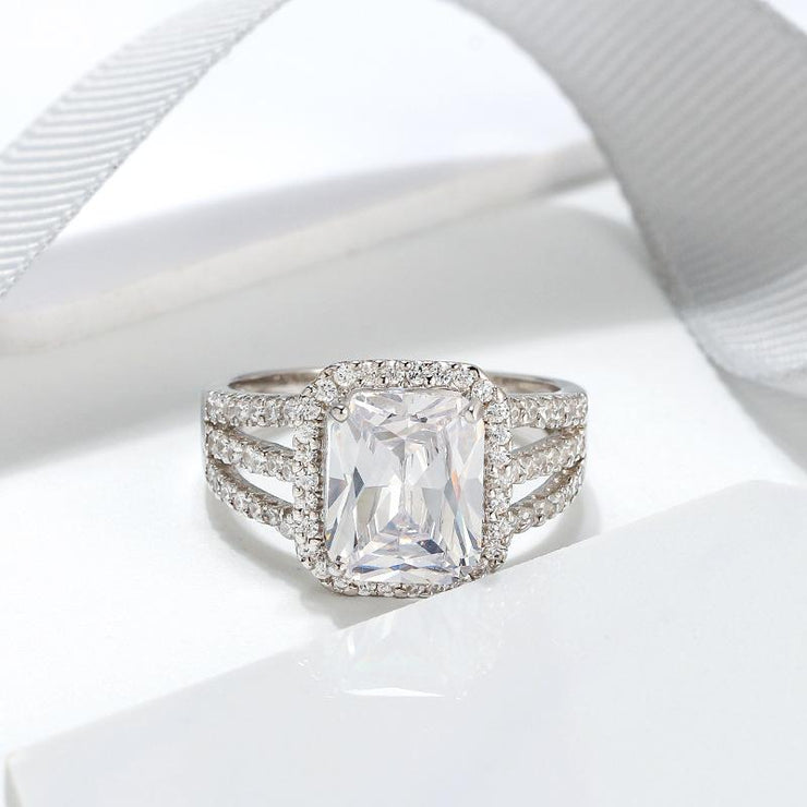 925 Sterling Silver Cushion CZ Ring