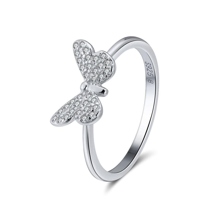 925 Sterling Silver Butterfly CZ Ring