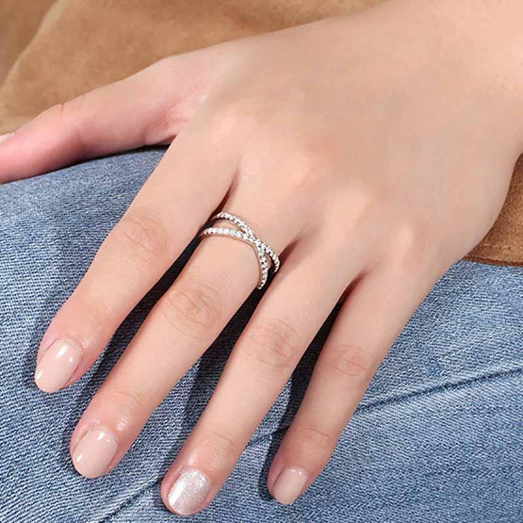 925 Sterling Silver Overlapping CZ Cage Ring