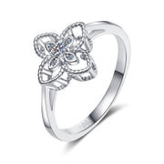 925 Sterling Silver Four-leaf Clover CZ Ring