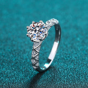 925 Sterling Silver Prong Setting CZ Ring