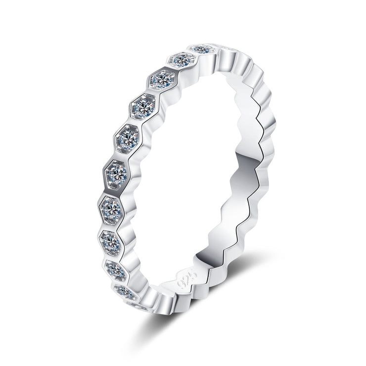 925 Sterling Silver Round CZ Pave Ring