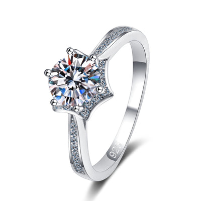 925 Sterling Silver Star Prong Setting CZ Ring