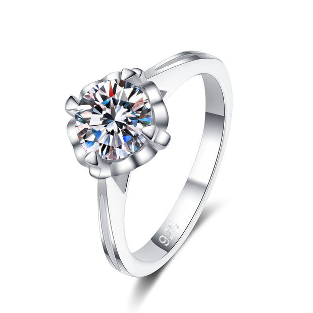 925 Sterling Silver Flower Prong Setting CZ Ring