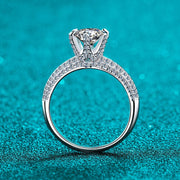 925 Sterling Silver Prong Setting CZ Pave Ring