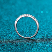925 Sterling Silver Round Moissanite Pave Ring
