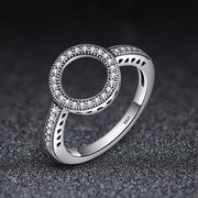 Women Cute Elegant Engagement Eternity Round Rhodium Plated Plain Sterling Silver Gemstone Rings