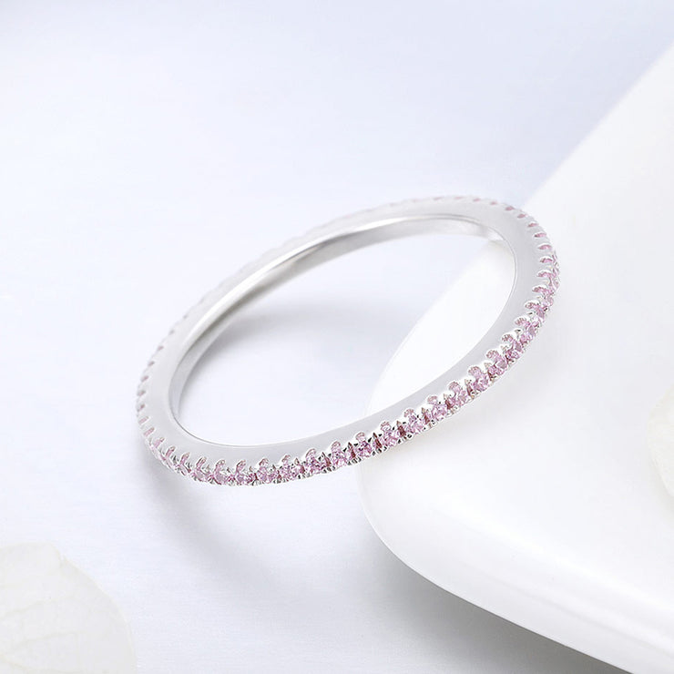 Women Pink Cute Elegant Engagement Ring Round Rhodium Plated Plain Sterling Silver Rings