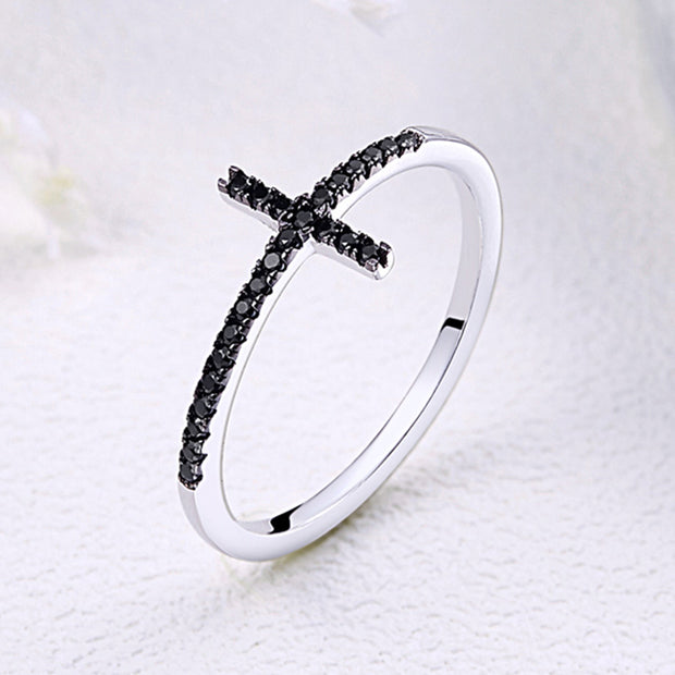 Women Elegant Trendy Rhodium Plated Plain Sterling Silver Gemstone Rings