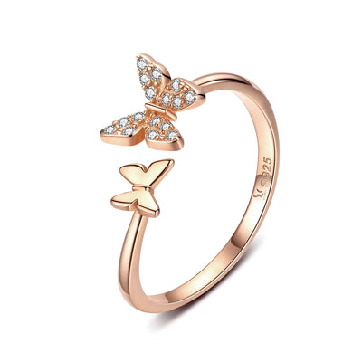 Women Butterfly Elegant Engagement Trendy Rhodium Plated Plain Sterling Silver Rings