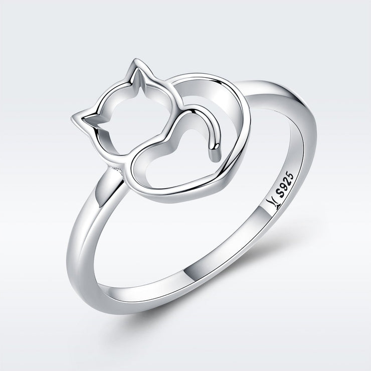 Women Kitty Trendy Rhodium Plated Plain Sterling Silver 925 Sterling Silver High Polish Rings
