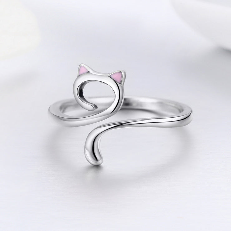 Women Kitty Plain Sterling Silver Rings 925 Sterling Silver High Polish Rings