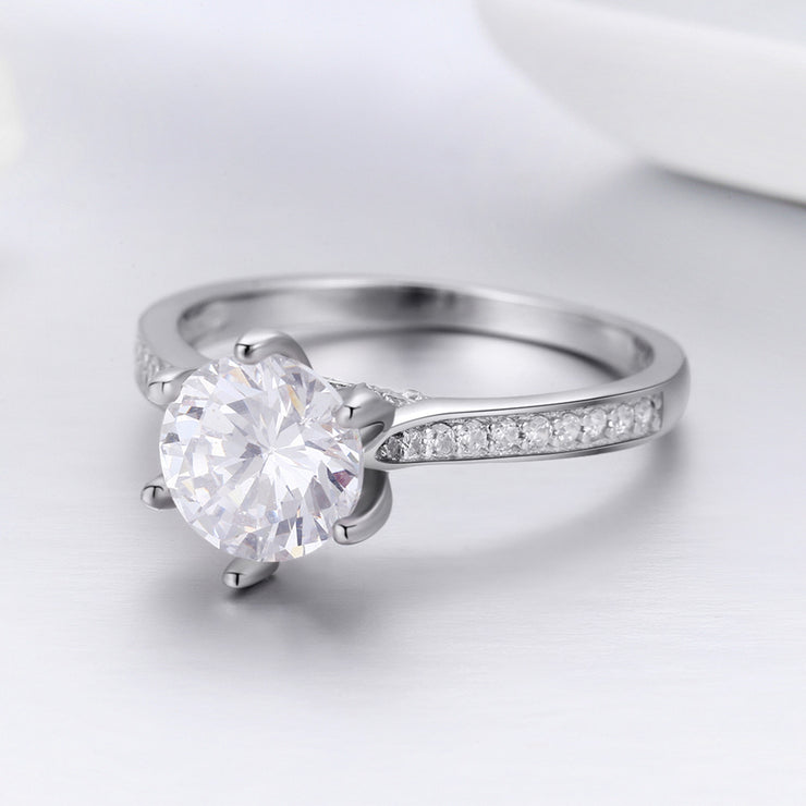 Women Engagement Eternity Trendy Rhodium Plated Plain Sterling Silver Rings