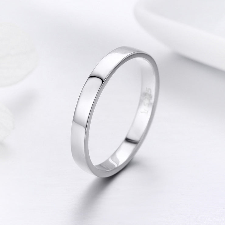 Women Elegant Trendy Rhodium Plated Plain Sterling Silver 925 Sterling Silver High Polish Rings