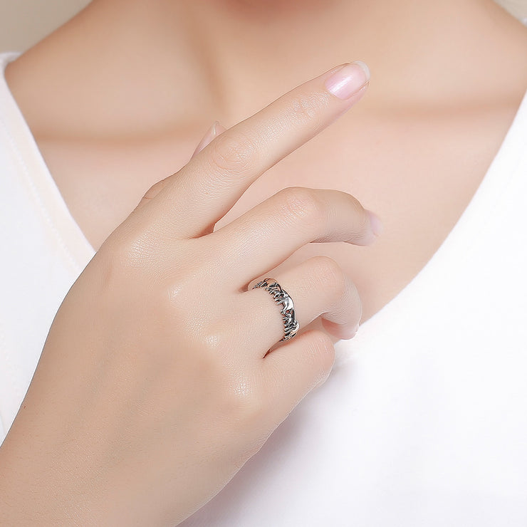 Women Elephant Bohemian Cute Trendy Rhodium Plated Plain Sterling Silver Rings