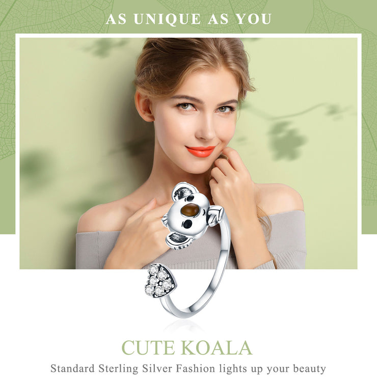 Women Koala Plain Sterling Silver Rings Gemstone Rings