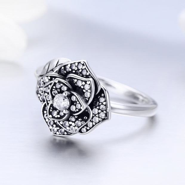Women Rose's Love Elegant Trendy Rhodium Plated Plain Sterling Silver Gemstone Rings