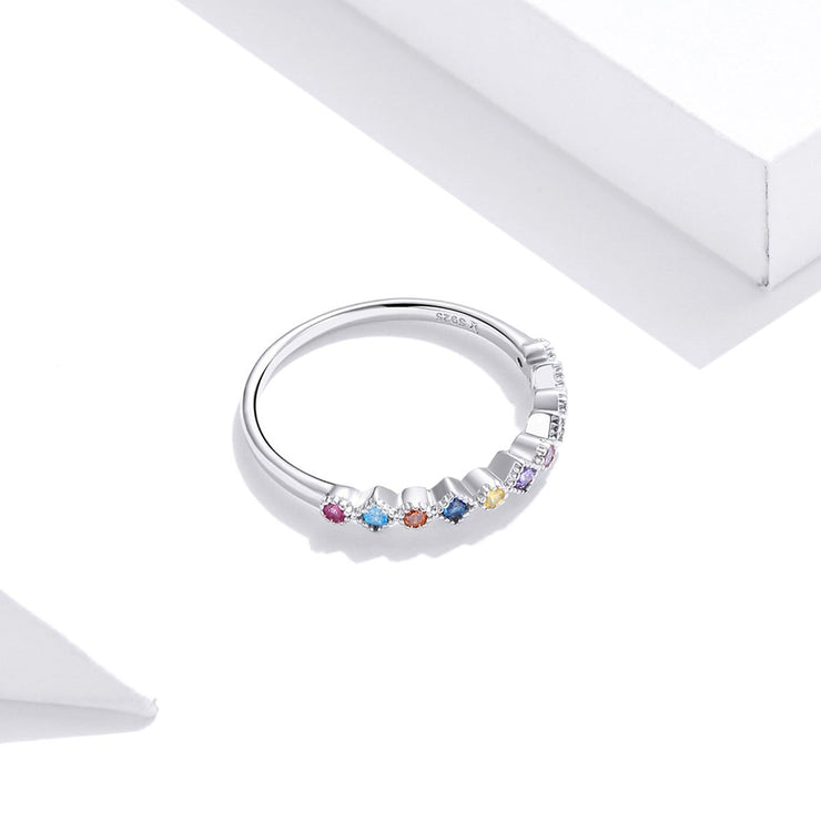 Women Fashion Jewelry 925 Colorful Diamond Silver Rings